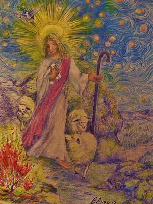 Poster featuring the drawing  The  Good  Shepherd by Beth Arroyo