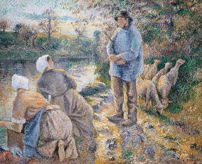 The Washerwomen Poster by Camille Pissarro