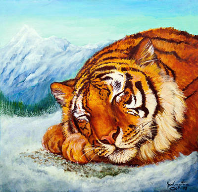 Poster featuring the painting  Tiger Sleeping In Snow by Bob and Nadine Johnston