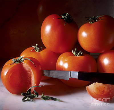 Tomatoes And A Knife Poster by Bernard Jaubert