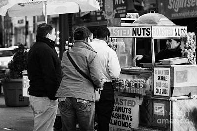 Vendor Selling Roasted Nuts And Soft Drinks To Queue Of  People New York City Poster