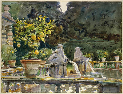 Villa Di Marlia Lucca - A Fountain Poster by John Singer Sargent