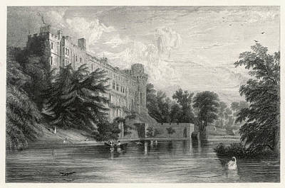 Warwick Castle Viewed From The River Poster