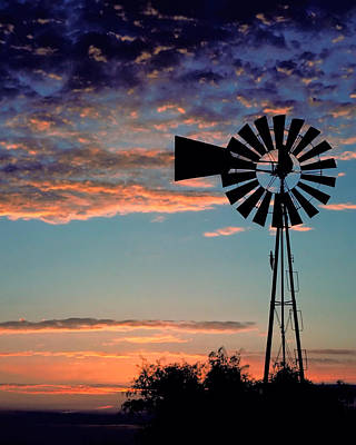 Windmill At Dawn Poster by David and Carol Kelly