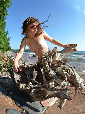 0114 Windswept Nude In Nature  Poster