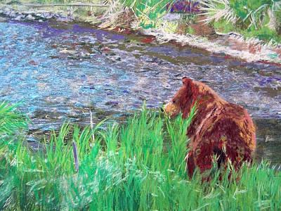 082714 Black Bear Pastel Poster