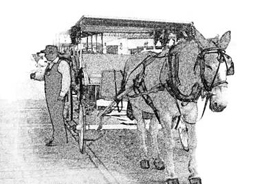 091614 Pen Drawing Carriages French Quarter Poster by Garland Oldham