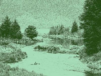 092214 Digital Pen Drawing Alaska Poster