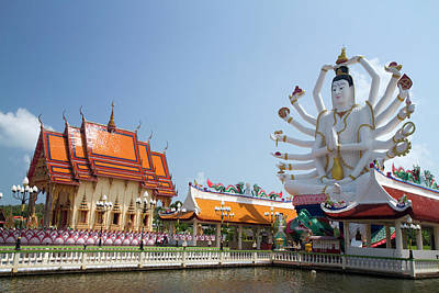 18 Arm Buddha Statue At Wat Plai Laem Poster by David R. Frazier