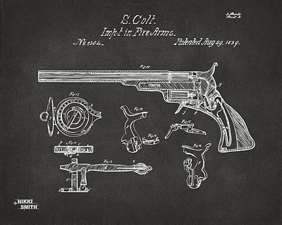 1839 Colt Fire Arm Patent Artwork - Gray Poster