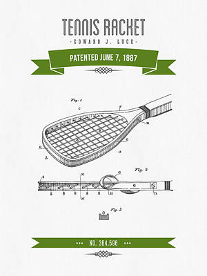 1887 Tennis Racket Patent Drawing - Retro Green Poster by Aged Pixel