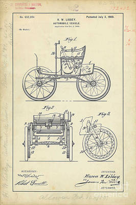 1900 Automobile Patent Drawing Poster