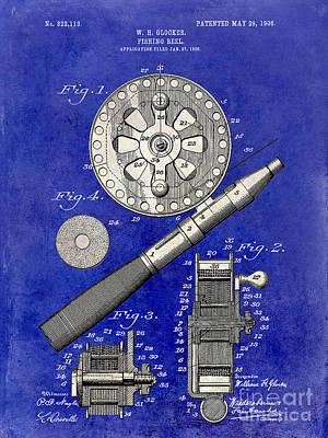 1906 Fishing Reel Patent Drawing Blue 2 Tone Poster by Jon Neidert