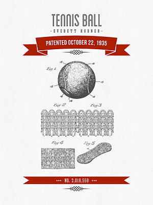 1907 Tennis Racket Patent Drawing - Retro Red Poster by Aged Pixel