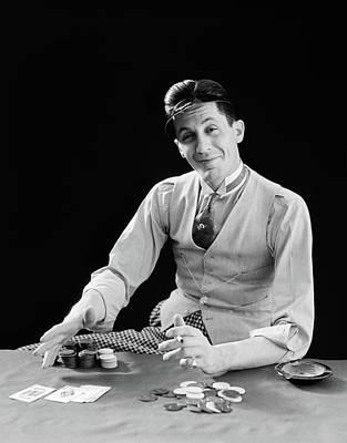1910s 1920s Character Man Gambler Card Poster