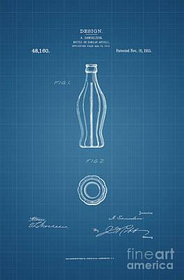1915 Coca Cola Bottle Design Patent Art 3 Poster by Nishanth Gopinathan