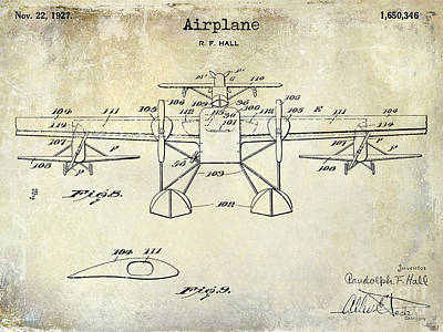 1927 Airplane Patent Drawing Poster