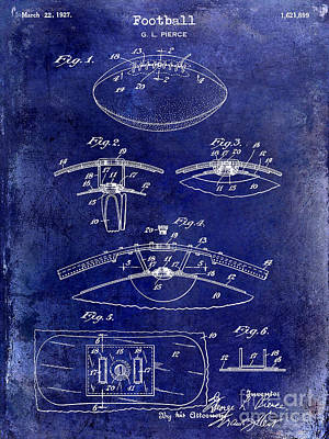 1927 Football Patent Drawing  Blue Poster