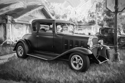 1932 Chevrolet 5 Window Coupe Painted Bw  Poster by Rich Franco