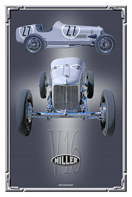 Poster featuring the photograph 1932 Miller V16 by Ed Dooley
