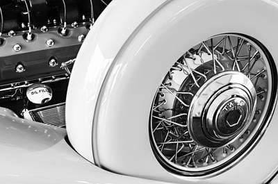 1932 Packard Dual Cowl Phaeton Engine - Spare Tire Poster by Jill Reger
