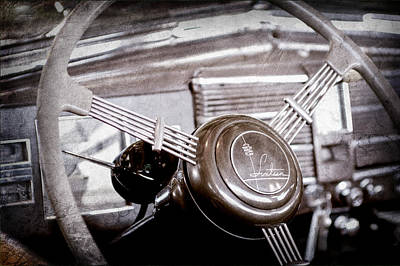 1938 Cadillac V-16 Presidential Convertible Parade Limousine Steering Wheel Emblem Poster