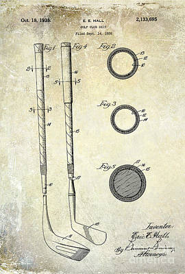1938 Golf Club Grip Patent Drawing Poster by Jon Neidert