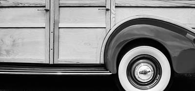 1940 Packard 120 Woody Station Wagon Wheel Emblem Poster by Jill Reger