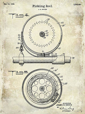 1942 Fishing Reel Patent Drawing  Poster by Jon Neidert