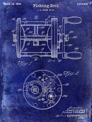 1943 Fishing Reel Patent Drawing Blue Poster