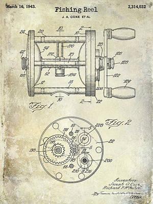 1943 Fishing Reel Patent Drawing Poster by Jon Neidert