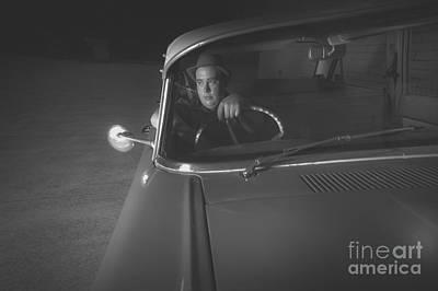 1950 Mobster Waiting In Vintage Car Poster
