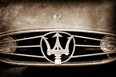 1954 Maserati A6 Gcs Hood Emblem Poster by Jill Reger