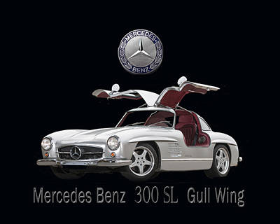 1955 Mercedes Benz 300 S L Gull Wing Poster