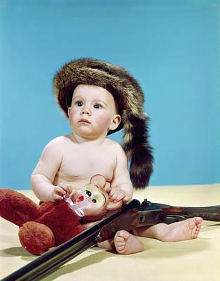 1960s Baby Boy Wearing Coonskin Cap Poster