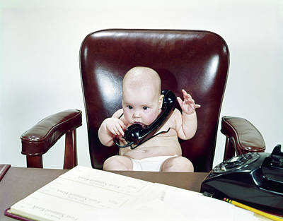 1960s Chubby Baby Sitting In Leather Poster