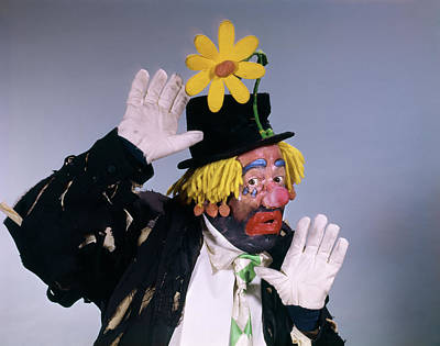 1960s Hobo Style Clown Wearing Top Hat Poster