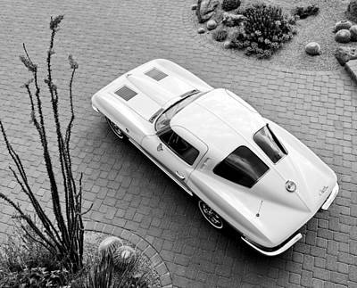 1963 Chevrolet Corvette Split Window -440bw Poster by Jill Reger