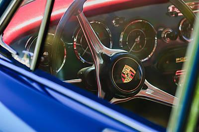 1963 Porsche 356 B 1600 Coupe Steering Wheel Emblem Poster by Jill Reger