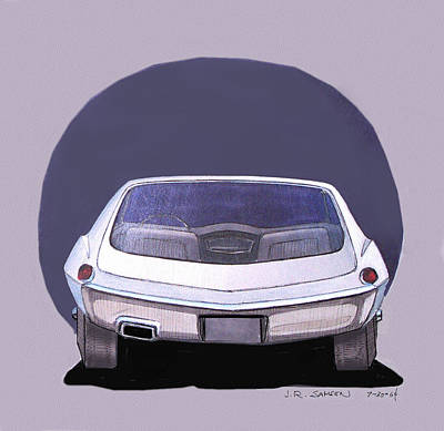 1967 Barracuda  Plymouth Vintage Styling Design Concept Rendering Sketch Poster