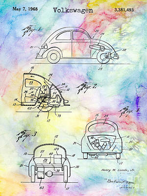 1968 Vw Patent Drawing Poster