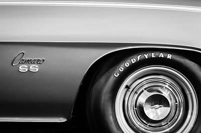 1969 Chevrolet Camaro 396 Rs Ss L89 Side Emblem Poster by Jill Reger