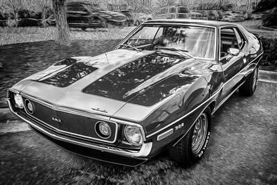 1971 Amc Javelin 360 Amx  Bw Poster by Rich Franco