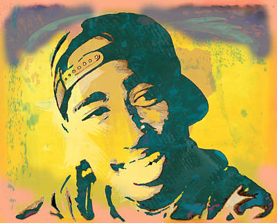 2pac Tupac Shakur Stylised Pop Art Poster Poster by Kim Wang
