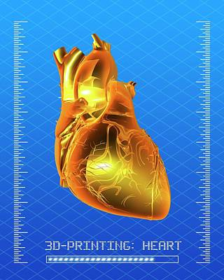 3d Printing Of A Human Heart Poster
