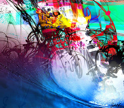 48x41 The Scream 2012 Blue Ocean Wave - - Signed Art Abstract Paintings Modern Www.splashyartist.com Poster