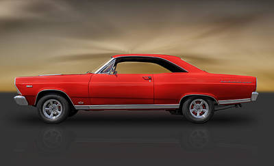 66 Ford Fairlane 500 - 390 Gta Poster by Frank J Benz