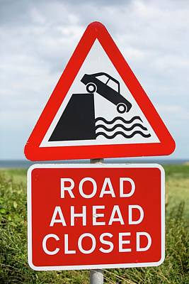 A Collapsed Coastal Road Near Aldbrough Poster by Ashley Cooper