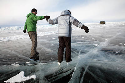 A Couple Ice Skating On The Frozen Lake Poster