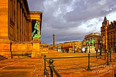 A Digitally Converted Painting Of St Georges Hall In Liverpool Uk Poster by Ken Biggs